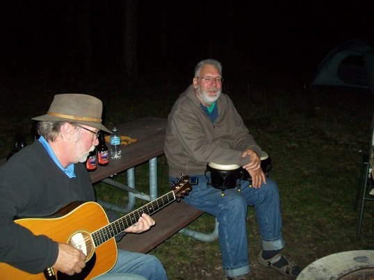 Mike warms up the bongos while Denny fingerpicks his D-35